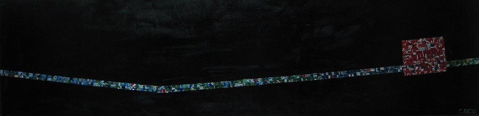 untitle #1 -  oil/aluminum collage on board 96x24 in