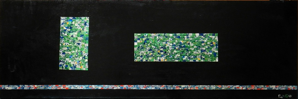 2  green -  oil/aluminum collage on board 84x24 in