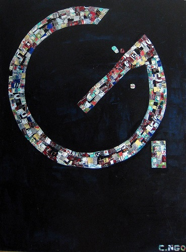 letter G -  oil/aluminum collage on board 36x48 in