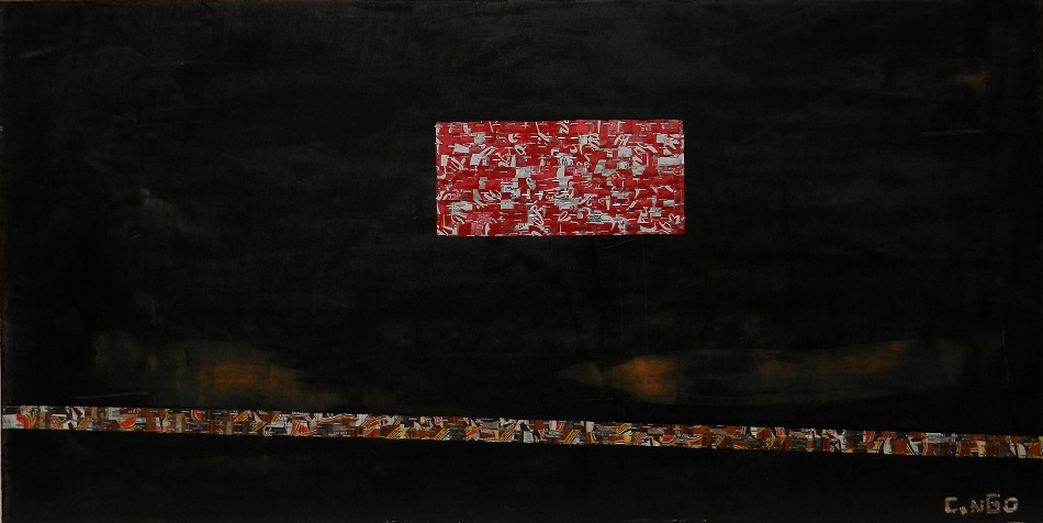 red block -  oil/aluminum collage on board 48x24 in.